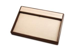 PU皮革米色棕色飾品展示櫃內部胡桃木交易盤
