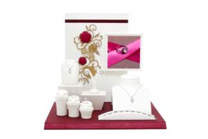紅色花與金色蝴蝶白色珠寶飾品陳列展示擺件道具套組