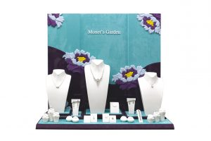 blue white and purple color Monet''s Garden Jewelry Display set