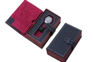 皮革紅黑單支錶盒