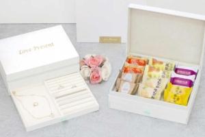 白色的鳳梨酥禮盒,吃完後可當珠寶盒使用,辰昱包裝結合40年的珠寶包裝專業經驗,獨家設計,手工包裝禮盒與珠寶盒結合,讓您吃完後的禮盒不浪費唷!